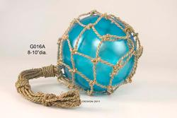 Glass Float in Blue Net