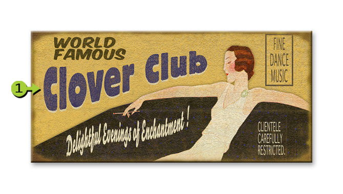 Clover Club old wood sign