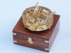 "Brass Round Sundial Compass 6"""