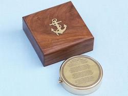 Brass Robert Frost Poem Compass 4""