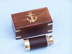 "Scouts Brass / Leather Spyglass 6"""
