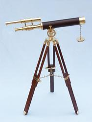 "Brass Telescope on Stand 30"" - Leather"