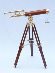 "Brass Telescope on Stand 30"" - Wood"