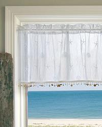 Sand Shell Curtain: Valance: White