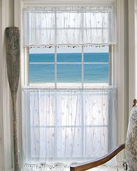 Sand Shell Curtain: 45x30 Tier: White