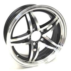 "Trailer Wheel Aluminum 5-Lug on 4.50"" bolt circle 15x5 Lynx Black Accents"