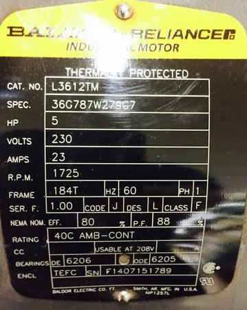 5 Hp Baldor Motor 1800 Rpm L3612tm Willier Electric