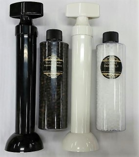 Tablestick Salt and Pepper Mills with Spices