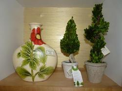 Painted Vase, Mini Topiaries