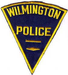 Wilmington Police Patch (navy,twill,yellow letters)(MA)