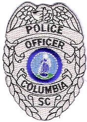Columbia Police Officer Patch (silver/badge shape)(SC)