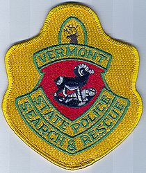 State: VT. State Police Search & Rescue Patch