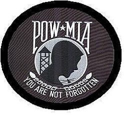 "POW MIA, 12"" round, fully embroidered Patch"