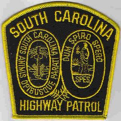 State: SC. Highway Patrol Patch (large, black/yellow)