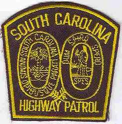 State: SC. Highway Patrol Patch (cap size,black/yellow)