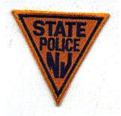 State: NJ, State Police Patch (orange/blue, cap size)
