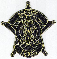 Sheriff: TX. Bowie Co. Sheriff Patch (badge patch)(black/yellow)