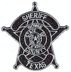 Sheriff: TX. Bowie Co. Sheriff Patch (badge patch)(black/gray)