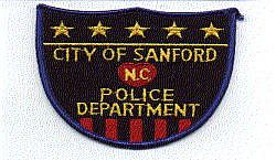 Sanford Police Patch (black, shield shape) (NC)