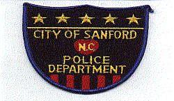 Sanford Police Patch (black, shield shape) (NC)