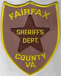 Sheriff: VA, Fairfax Co. Sheriffs Dept. (brown/yellow letters)