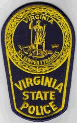 State: VA. State Police Patch (small, yellow/navy)