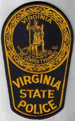 State: VA. State Police Patch (large, gold/navy)