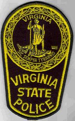 State: VA. State Police Patch (large, old, yellow/black)