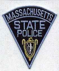 State: MA, State Police Patch (large,triangular,current,blue edge)