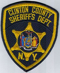 Sheriff: NY, Clinton Co. Sheriffs Dept. Patch (black/gold)
