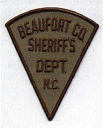 Sheriff: NC, Beaufort Co. Sheriffs Dept. Patch (lght. brown background/ brwn letters)
