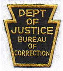 Dept. of Justice Bureau of Correction Patch (gold/green) (PA)