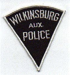 Wilkinsburg Aux. Police Patch (black/silver, triangular) (PA)