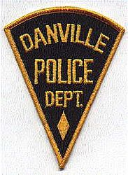 Danville Police Patch (gold edge, triangular) (OH)