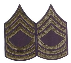 Unissued Chevrons - MSG (Master Sergeant) - OD On Blue Felt