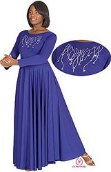 Plus Size Polyester Dress w/ Praise Rhinestones Applique