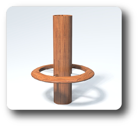 Wood Pedestal with Wood Footrest