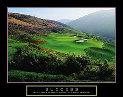 Framed Motivational Art Posters Success Golf Course Picture