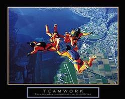 Teamwork Skydivers Poster 3 28x22
