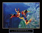 Teamwork Skydivers Poster 3 28x22