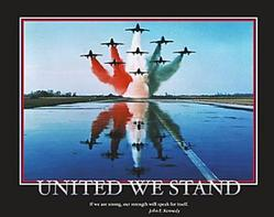 United we Stand Military Jets Poster 20x16
