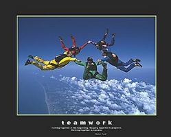 Skydiving Teamwork Poster 20x16