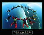 Skydiving Teamwork Poster 20x16