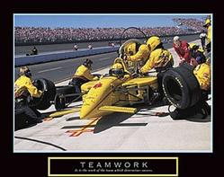 Race Car Teamwork Poster 10x8