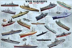 Navy: Military WW2 Warships Poster 36x24