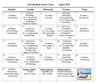 August Activities Calendar