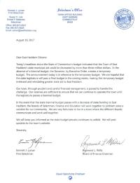 Letter from First Selectman and Chairman of Board of Finance