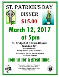 St Patrick's Day Dinner Flyer