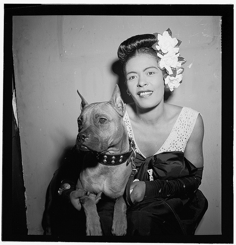 [Portrait of Billie Holiday and Mister, Downbeat, New York, N.Y.