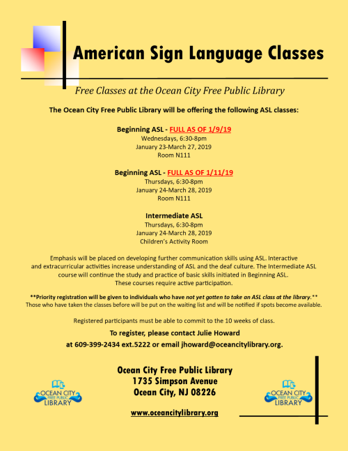 American Sign Language Classes: Begnr & Intermed Classes
